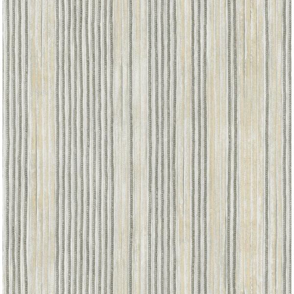 Seabrook Designs Newbury Metallic Silver and Greige Striped Wallpaper LD80410