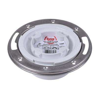 Oatey PVC Closed Toilet Flange with Pre-Installed Testing Cap and Stainless Steel Ring