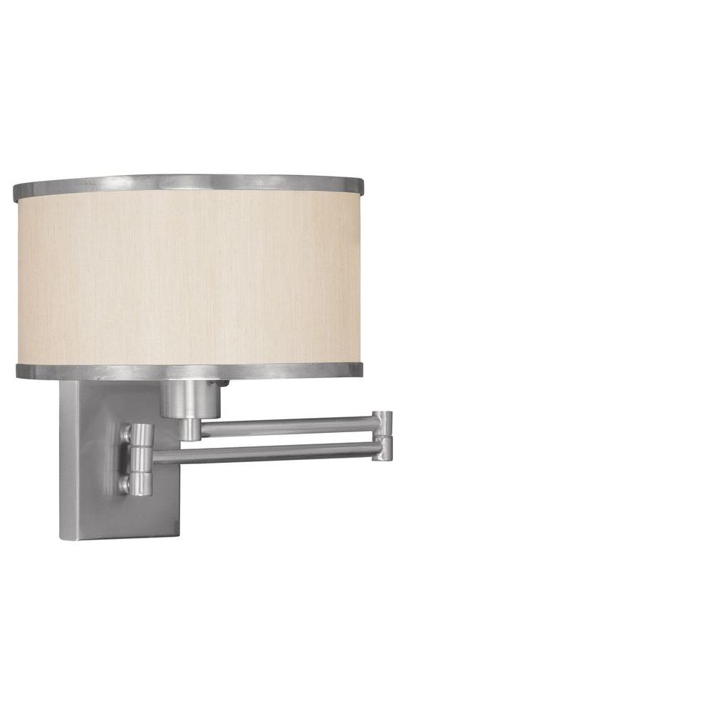 Livex Lighting 1 Light Brushed Nickel Swing Arm Wall Sconce With Champagne Hardback Shade