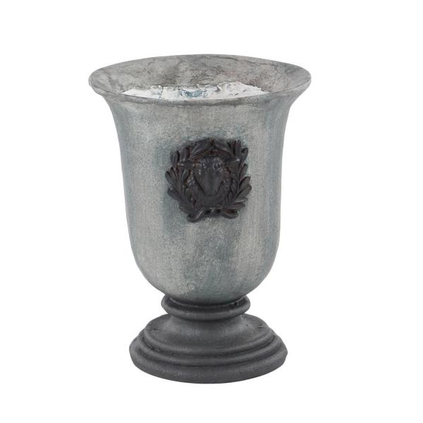 10 in. x 14 in. Textured Gray and Black urn-Shaped Tall Outdoor Planter with Decorative Wrath and Goat Head