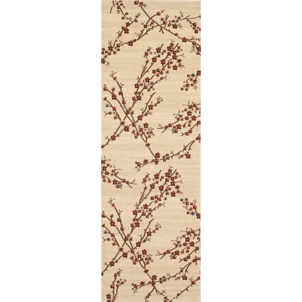 World Rug Gallery Manor House Beige Branches 2 ft. 7 in. x 7 ft. 10 in. Runner