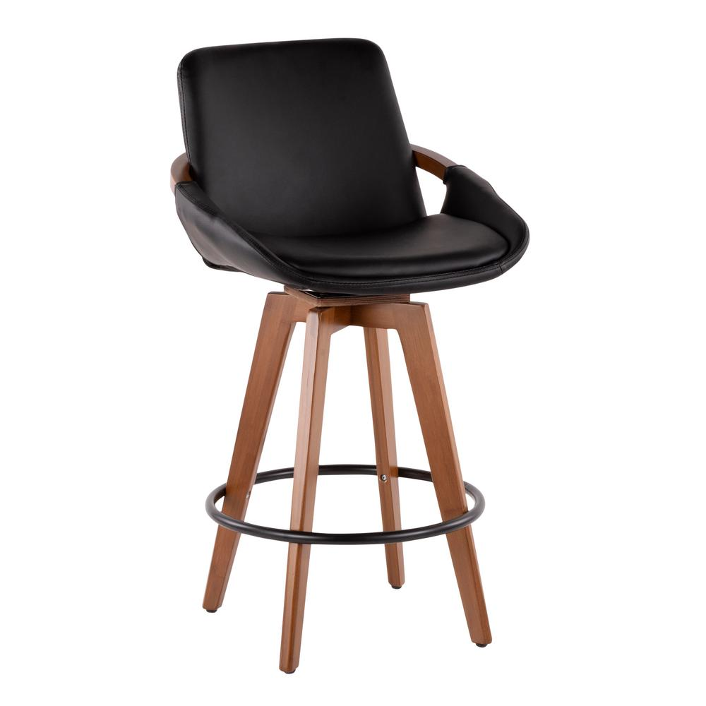 Lumisource Cosmo 26 In Walnut And Black Faux Leather Counter Stool