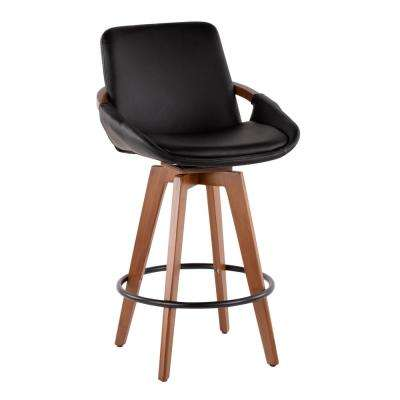 Cosmo 26 in. Walnut and Black Faux Leather Counter Stool