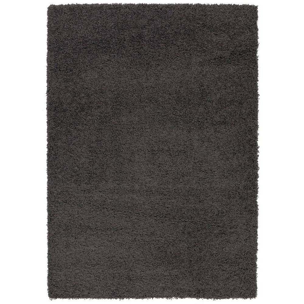 Sweet Home Stores Cozy Shag Collection Charcoal Grey 7 Ft