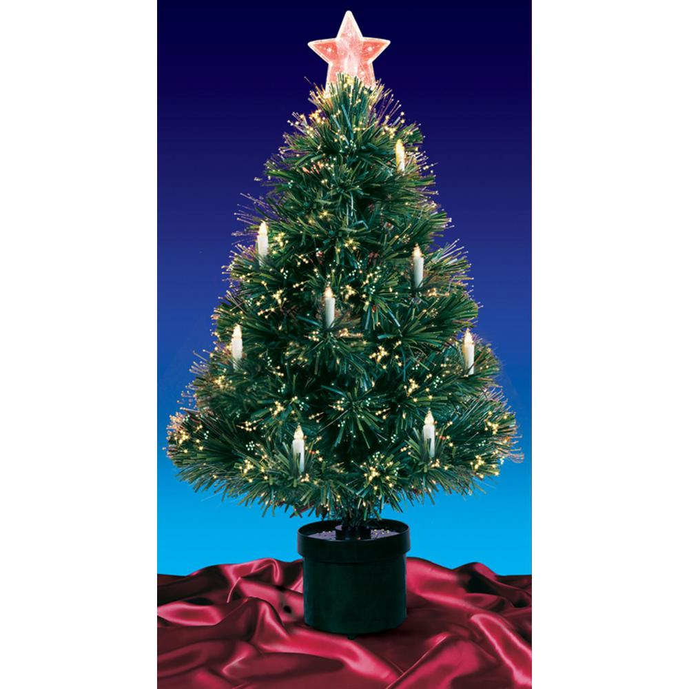 Fiberoptic Christmas Tree.Northlight 4 Ft Pre Lit Multi Lights Fiber Optic Artificial Christmas Tree With Candles