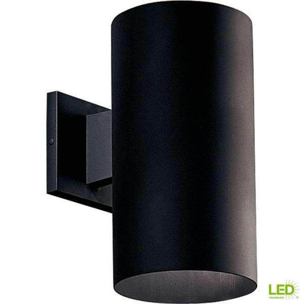 Progress Lighting 1 Light Black Integrated Led 12 In Outdoor Wall Mount Cylinder Light P5641 31 30k The Home Depot