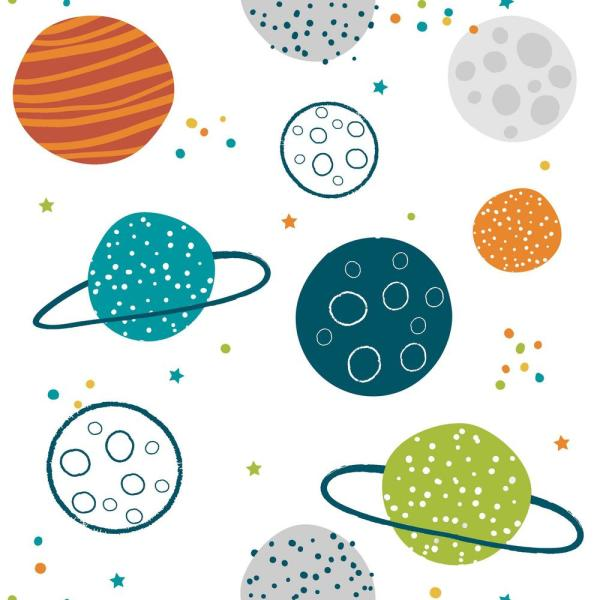 RoomMates 28.29 sq. ft. Colorful Planets Peel and Stick Wallpaper RMK11300RL