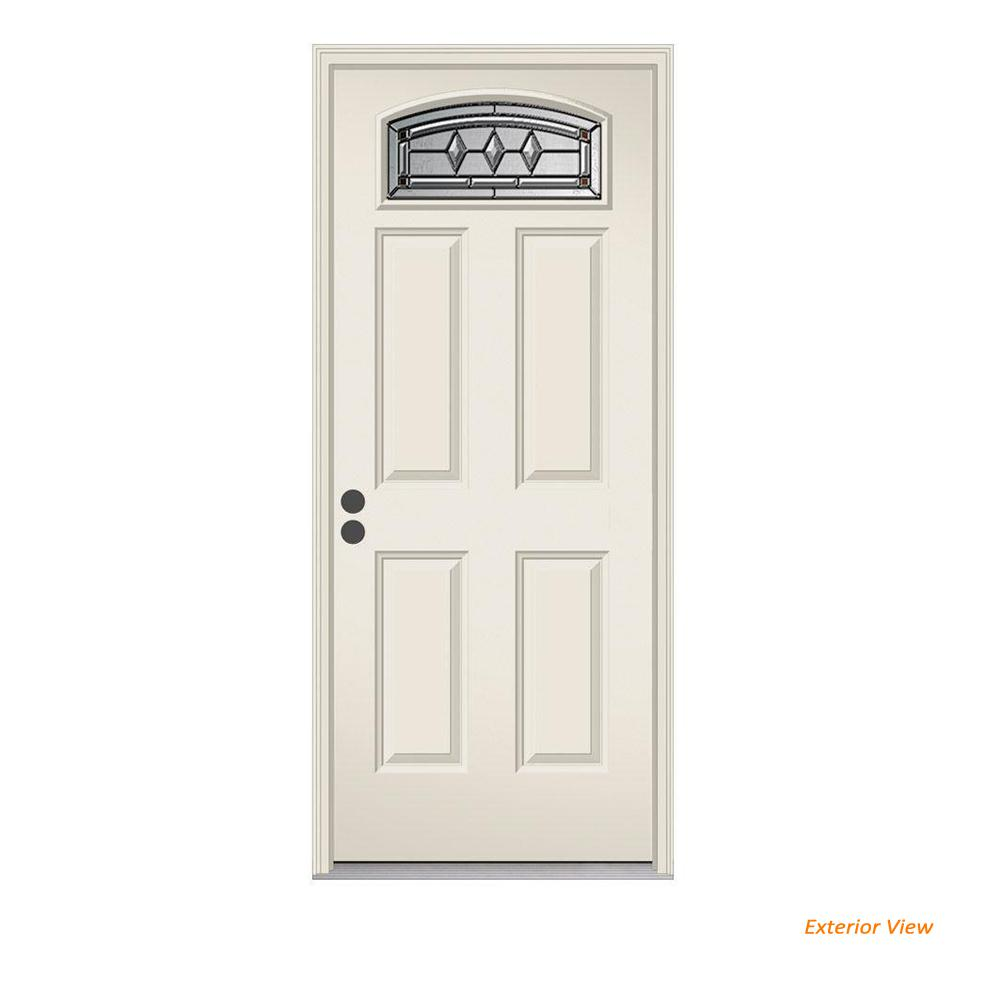 JELD-WEN 32 in. x 80 in. Camber Top Mission Prairie Primed Steel Prehung Right-Hand Inswing Front Door w/Brickmould