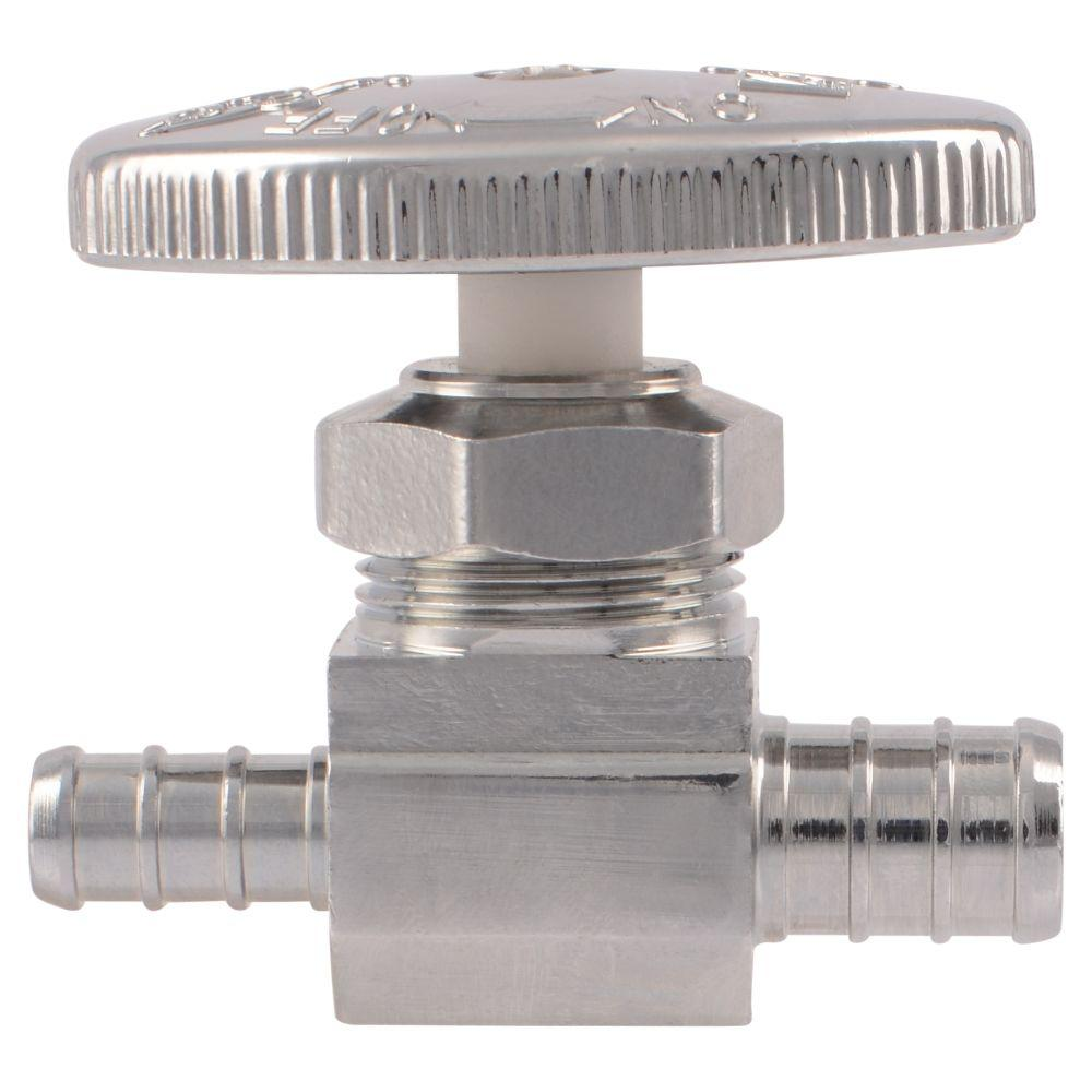 SharkBite 1/2 in. Chrome-Plated Brass PEX Barb x 3/8 in. Barb Straight Stop Valve