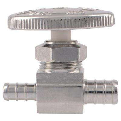1/2 in. Chrome-Plated Brass PEX Barb x 3/8 in. Barb Straight Stop Valve