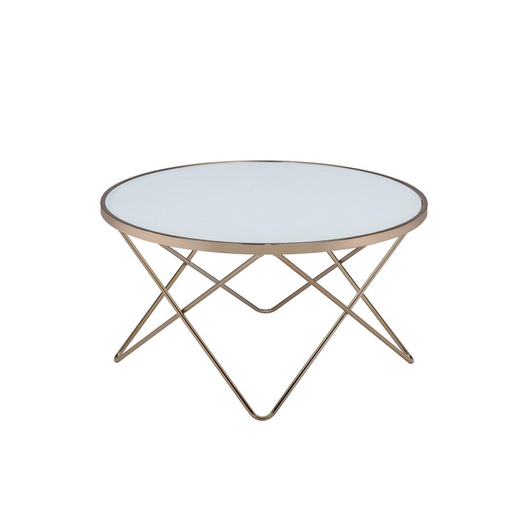 acme furniture valora frosted glass and champagne coffee table 81825 rh homedepot com acme furniture end tables Acme Furniture Bedroom Sets