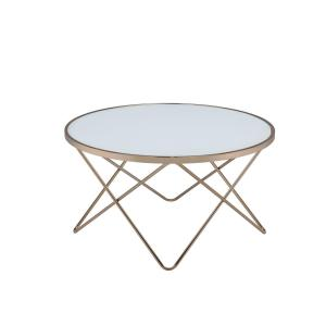 Acme Furniture Valora Frosted Glass and Champagne Coffee Table by Acme Furniture