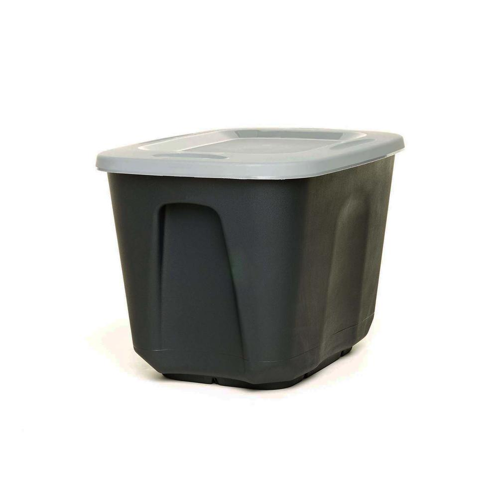 EcoStorage 10 Gal. Storage Container in Black with Grey Lid (Set