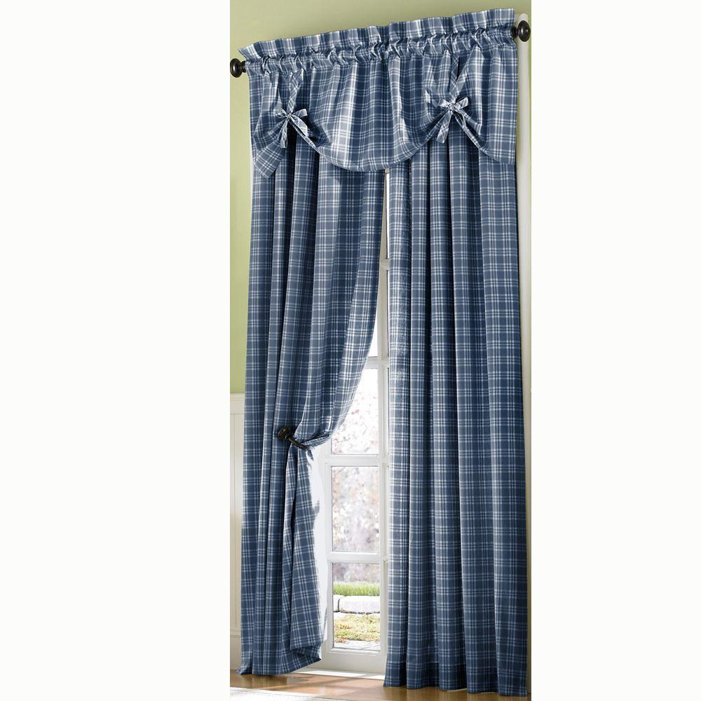 Curtainworks Semi-Opaque BlueCountry Plaid Cotton Panel- 50 in. W x 84 in. L