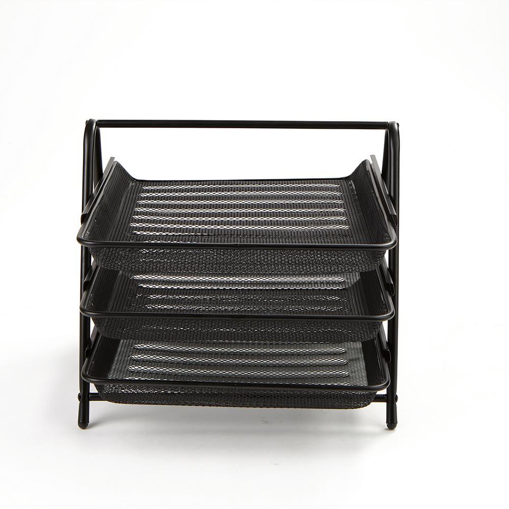 3-Tier Steel Mesh Paper Tray Desk Organizer, Black