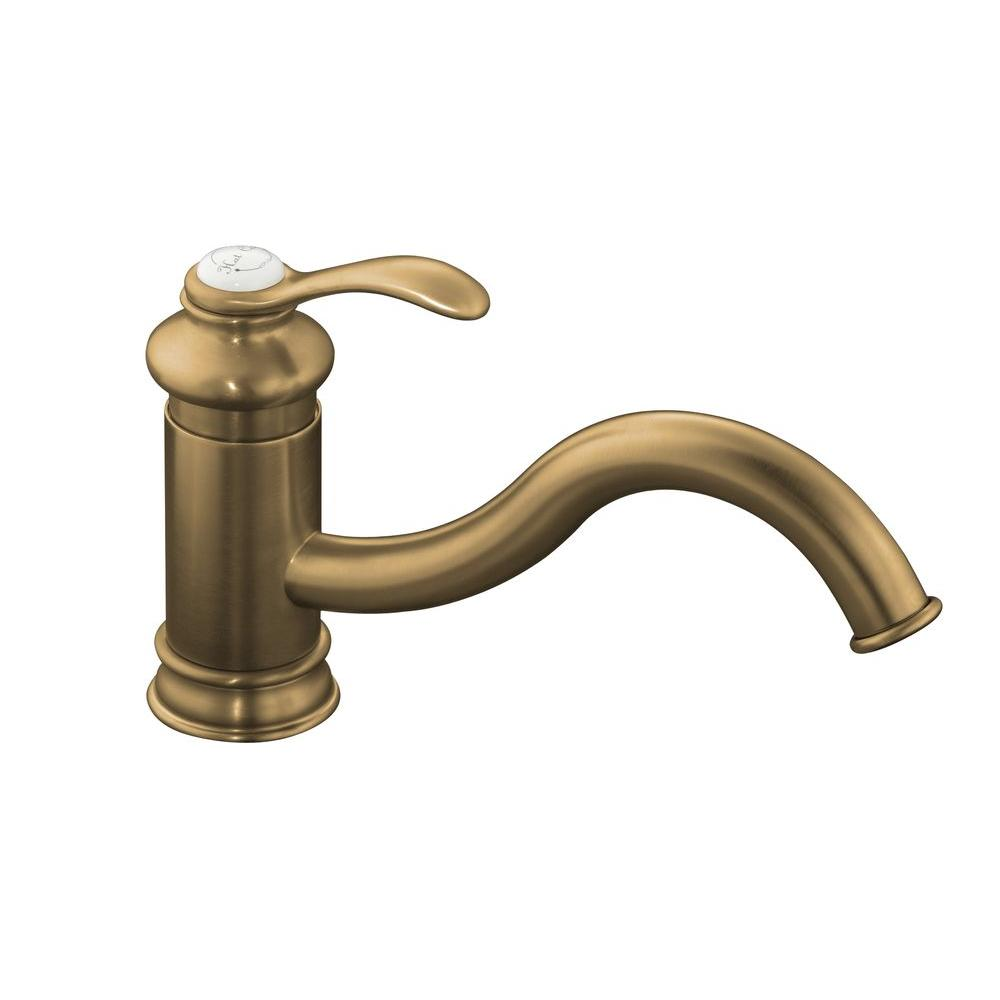 KOHLER Fairfax Single Hole 1-Handle Low-Arc Kitchen Faucet in Vibrant Brushed Bronze