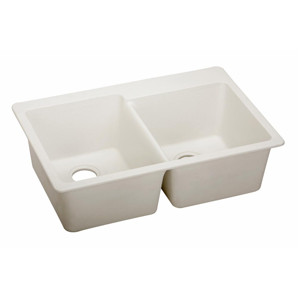 Elkay Premium Quartz Drop In Composite 33 In. Double Bowl Kitchen Sink In  Ricotta ELX250RRT0   The Home Depot