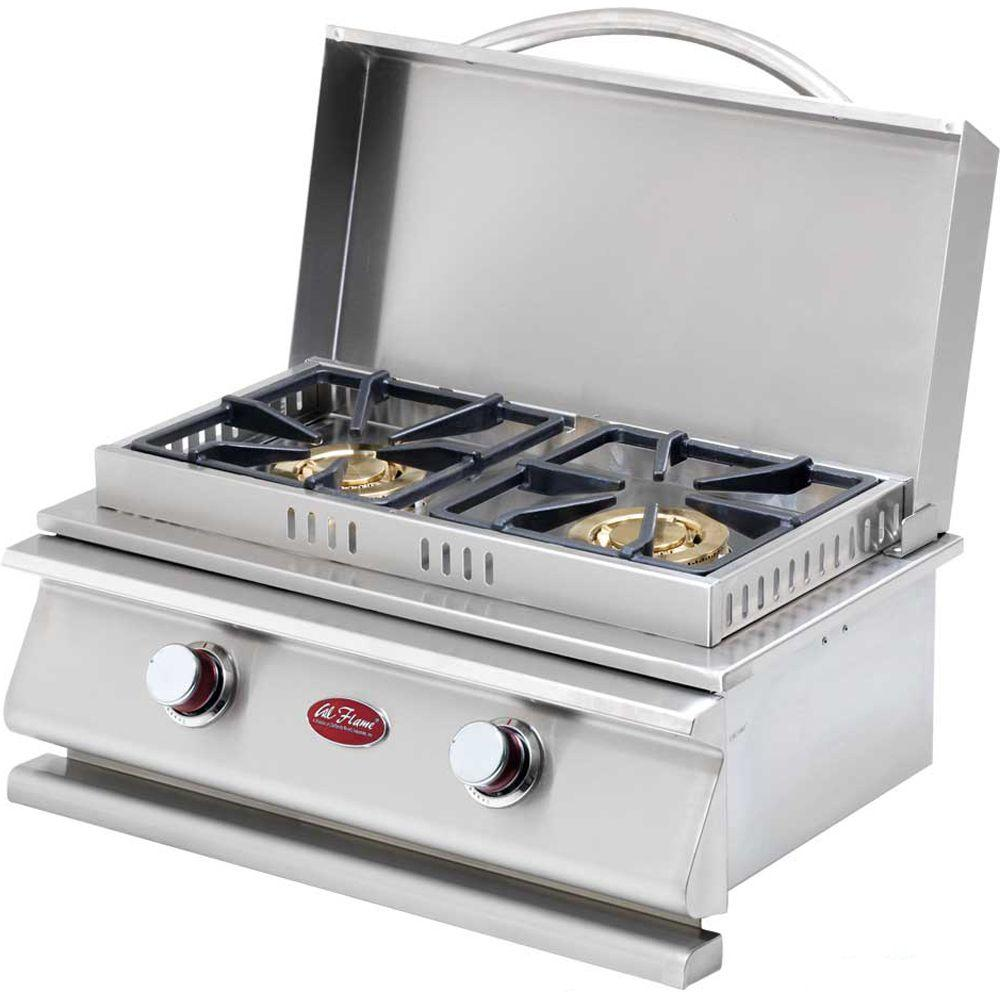 Cal Flame Deluxe Stainless Steel Built-In Dual Fuel Gas Double Side Burner