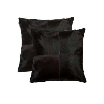 Torino Quattro Cowhide 18 in. x 18 in. Brown Pillow (Set of 2)