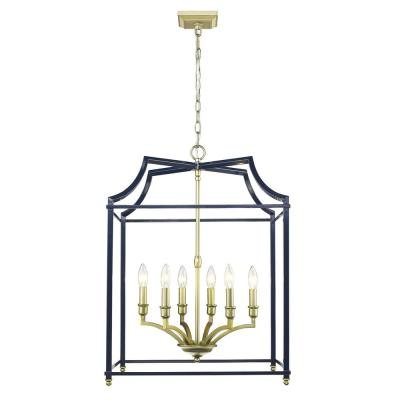 Leighton 6-Light Satin Brass and Navy Blue Pendant Light