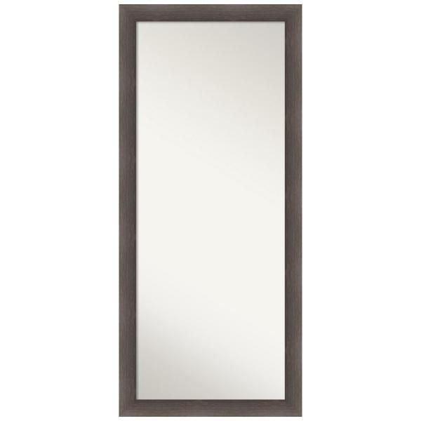 Hardwood Chocolate 28.75 in. x 64.75 in. Rustic Rectangle Full Length Brown Framed Floor Leaner Mirror