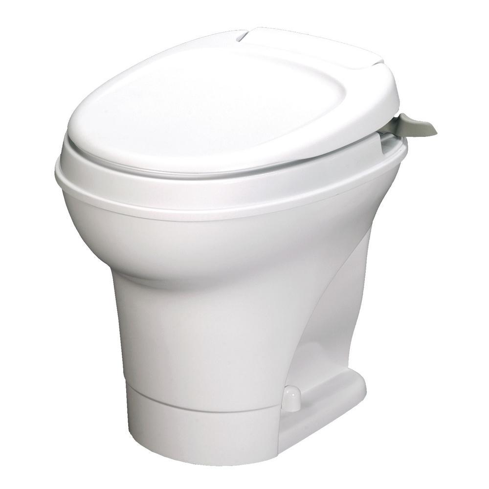 Aqua-Magic V 10 in. Rough-in 1-Piece .06 GPF Single Flush Hand Flush Round RV Toilet in White