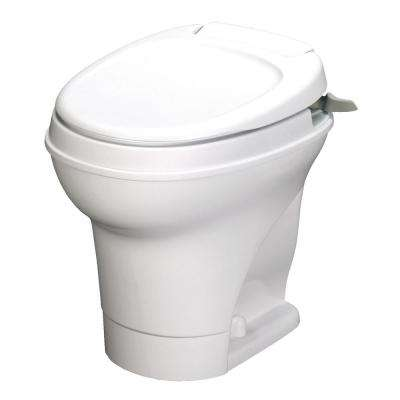 Aqua-Magic V 10 in. Rough-in 1-Piece .06 GPF Single Flush Hand Flush Round RV Toilet in White