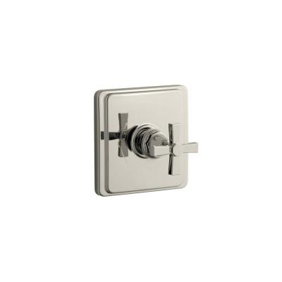 Pinstripe Rite-Temp 1-Handle Tub and Shower Faucet Trim Kit with Cross Handle in Polished Nickel (Valve Not Included)