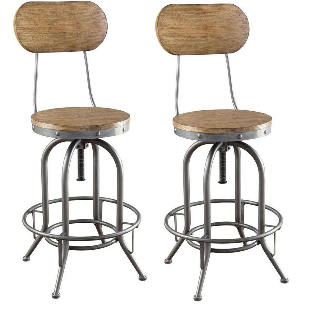 Coaster Industrial Adjustable Height Weathered Brown Bar Stool Set Of 2 100057 The Home Depot