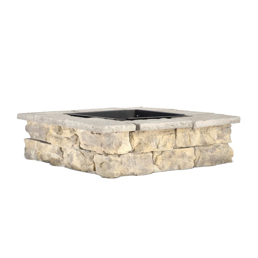 Natural Concrete Products Co 28 in. x 14 in. Steel Wood Fossill Limestone Square Fire Pit Kit