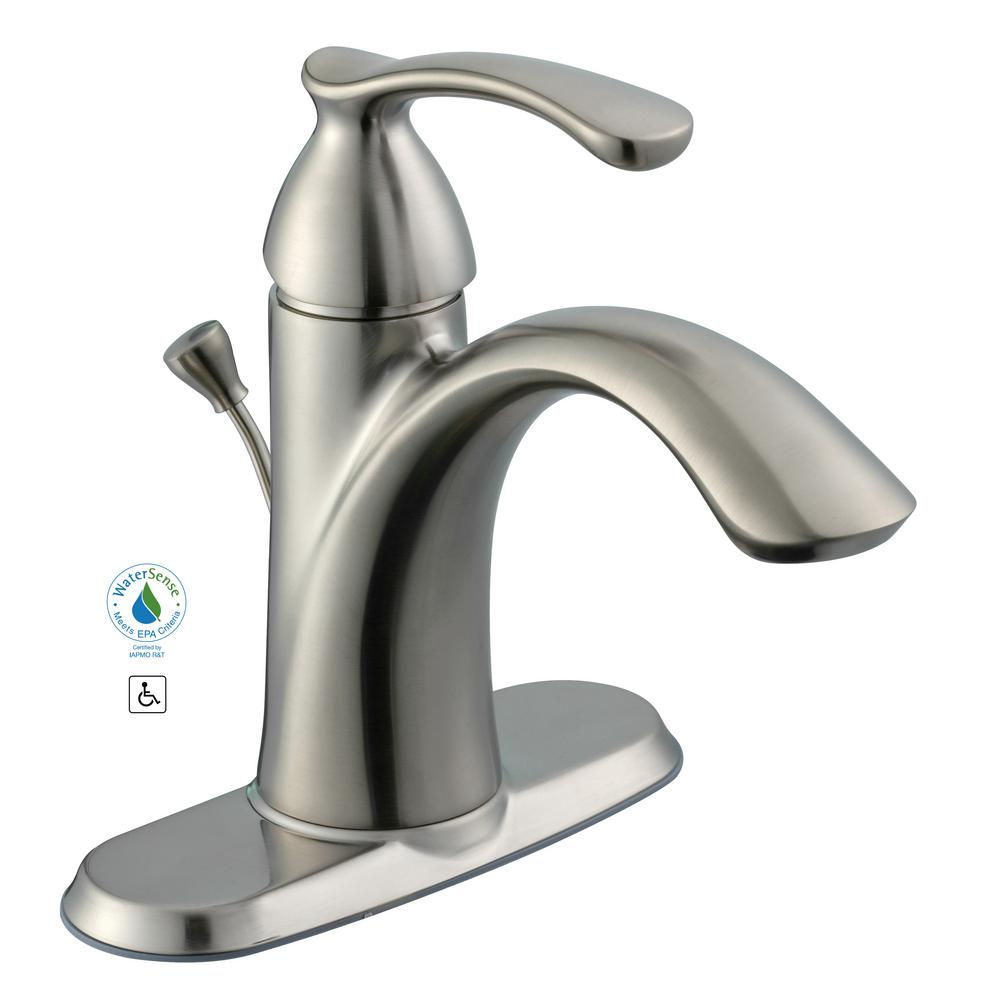 Pegasus Bamboo 4 in. Centerset 1-Handle Bathroom Faucet in Brushed ...