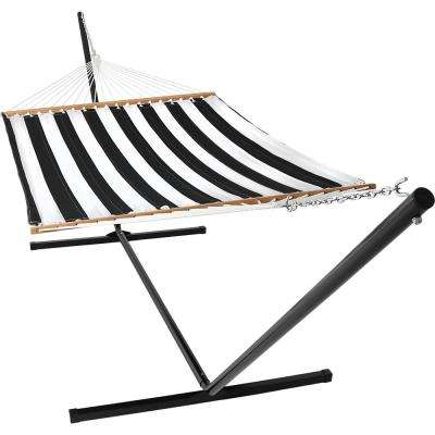 10-1/2 ft. Quilted Fabric Hammock with 15 ft. Hammock Stand in Black and White