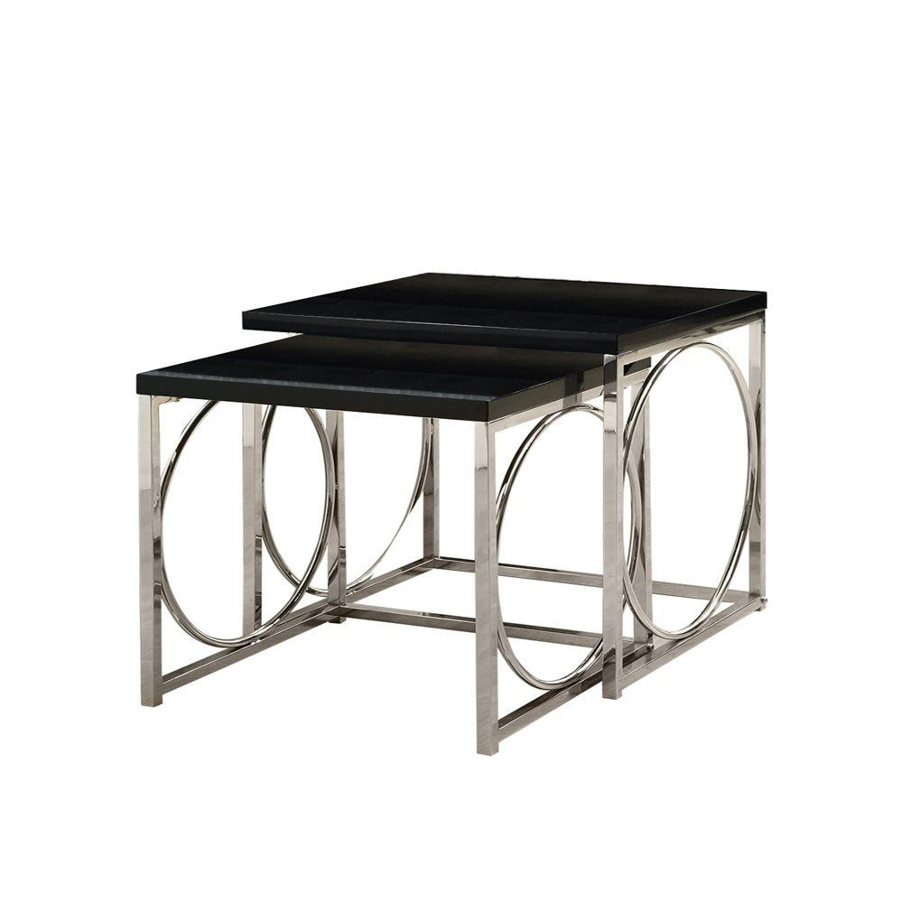 Monarch Specialties Glossy Black and Chrome Metal Nesting Table Set (2-Piece)
