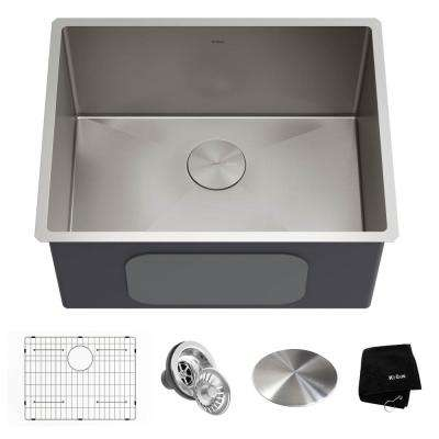 Standart PRO 24 in. x 18.5 in. x 12 in. 16-Gauge Undermount Single Bowl Stainless Steel Laundry and Utility Sink