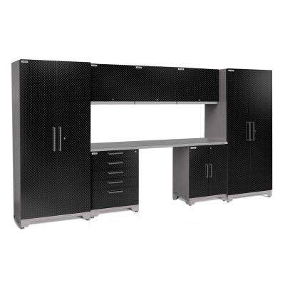 Performance Plus Diamond Plate 2.0 80 in. H x 156 in. W x 24 in. D Garage Cabinet Set in Black (8-Piece)