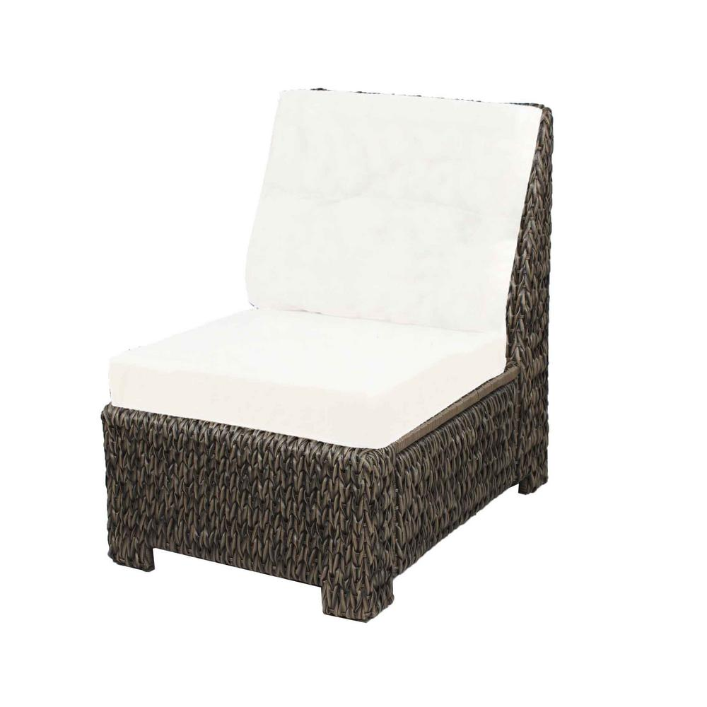 Hampton Bay Laguna Point All-Weather Wicker Armless Middle Outdoor Sectional Chair with Cushion Inserts (Slipcovers Sold Separately)