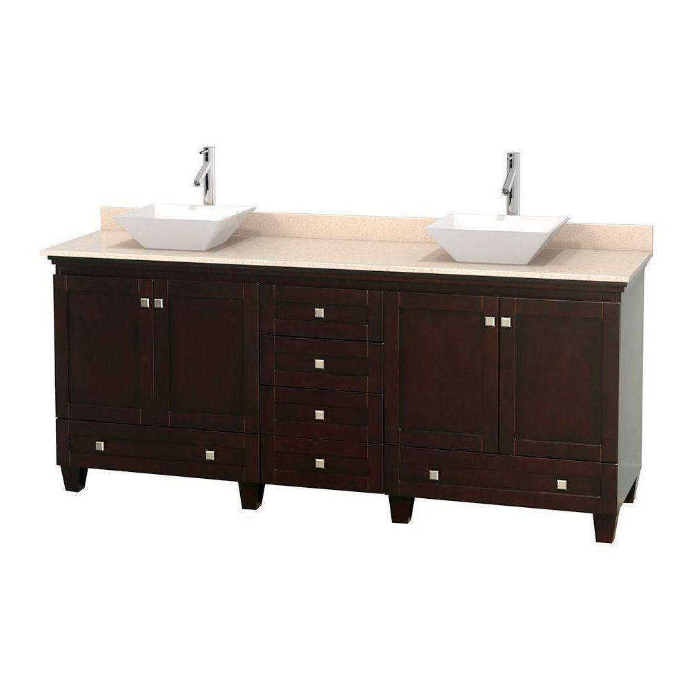 Wyndham Collection Acclaim 80 in. W Double Vanity in Espresso with Marble Vanity Top in Ivory and White Sinks