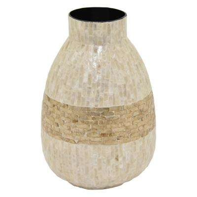 13.75 in. White Lacquer Vase with Capiz Inlay