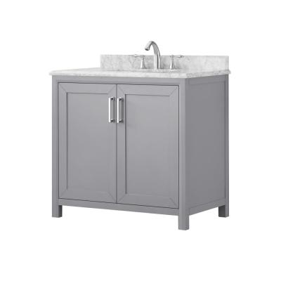 Rockleigh 36 in. W x 22 in. D Bath Vanity in Pebble Grey with Marble Vanity Top in Carrara White with White Basin
