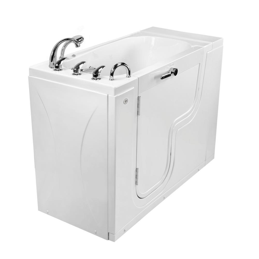 Wheelchair Transfer26 52 in. Walk-In MicroBubble Air Bath Bathtub in White, Faucet Set, Heated Seat, LH 2 in. Dual Drain