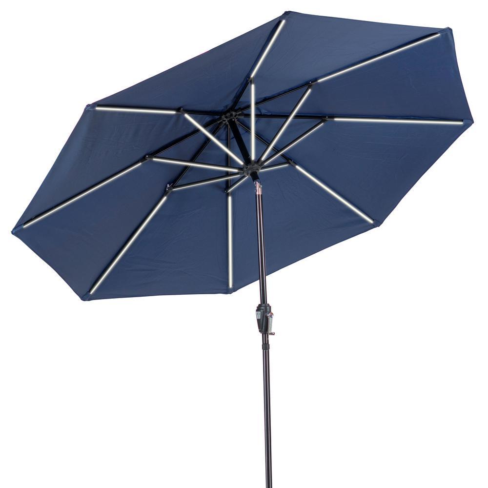 9 ft. Round Market Next Gen Solar Lighted Umbrella in Navy