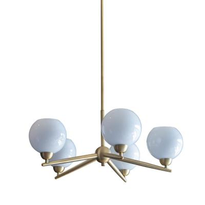 Michael 5-Light Antique Brass Chandelier with Milk Glass