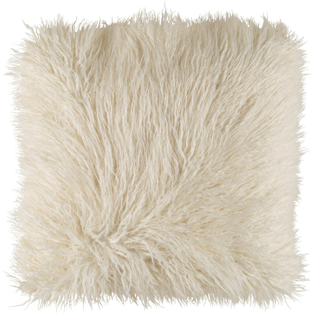 Camberwell White Solid Polyester 18 in. x 18 in. Throw Pillow