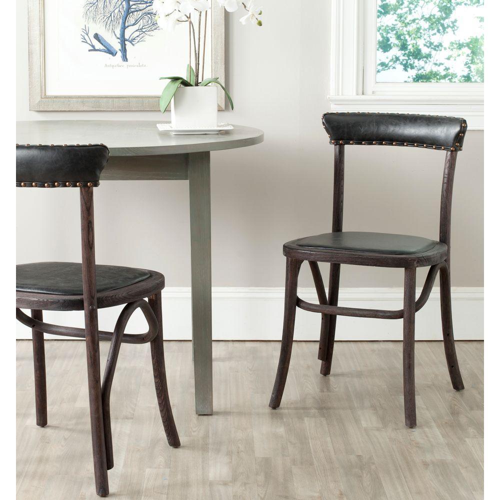 Kenny Antique Black Bicast Leather Side Chair (Set of 2)