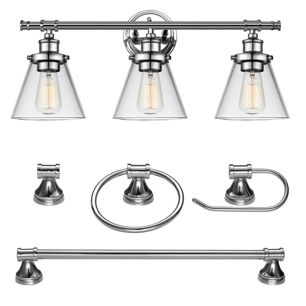 globe electric 3 light chrome all in one bath light 10763