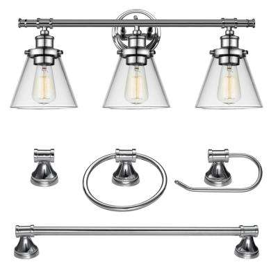 Parker 3-Light Chrome Vanity Light With Clear Glass Shades and Bath Set (4-Piece)