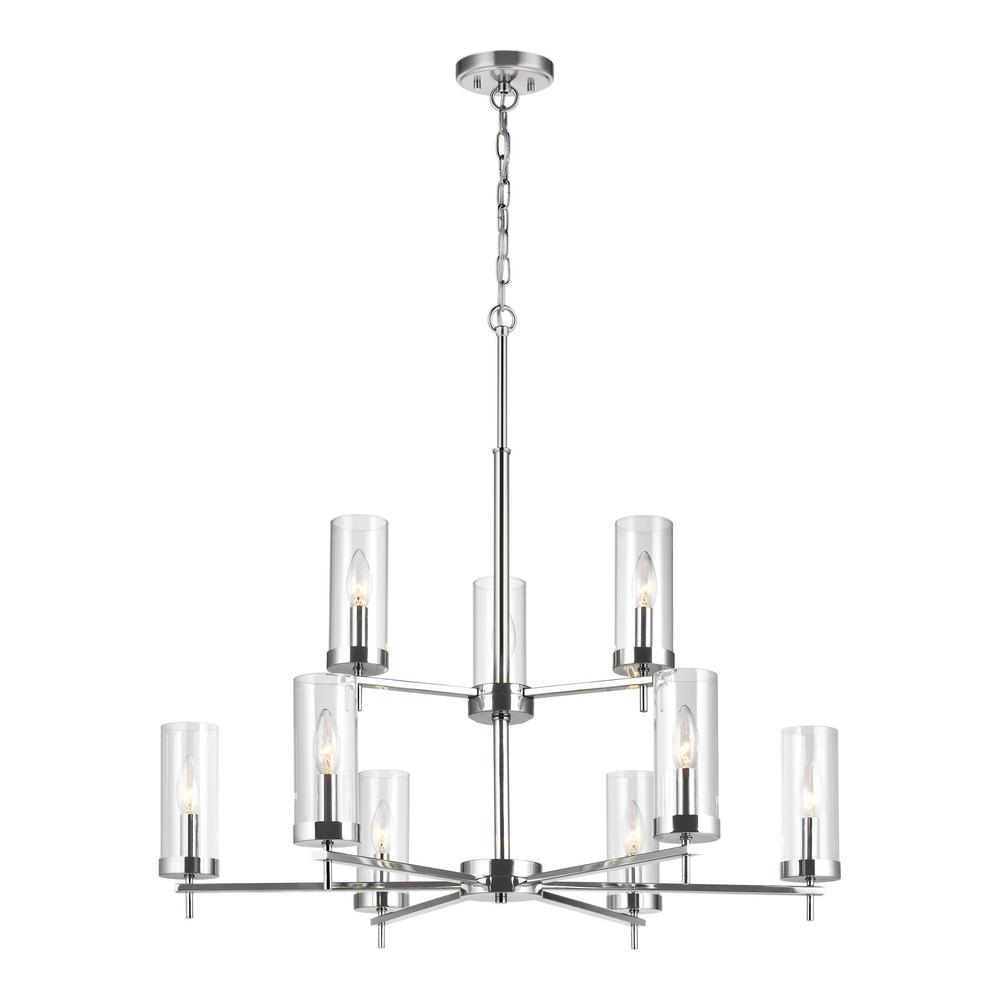 Sea Gull Lighting Zire 9-Light Chrome Chandelier with Clear Glass Shades with Dimmable Candelabra LED Bulb