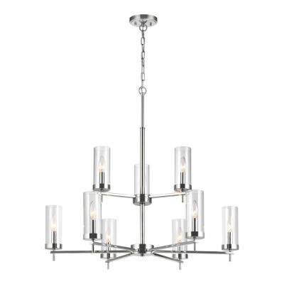 Zire 9-Light Chrome Chandelier with Clear Glass Shades with Dimmable Candelabra LED Bulb