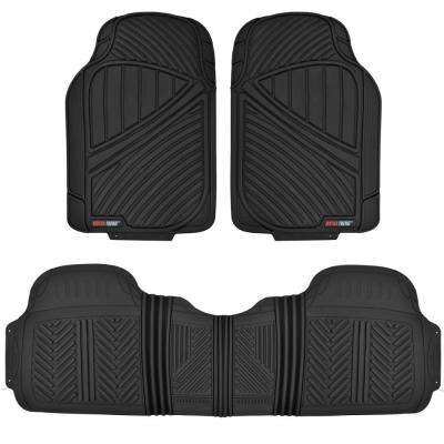 FlexTough MT-773 Black Heavy Duty 3 Piece All Weather Rubber Car Floor Mats