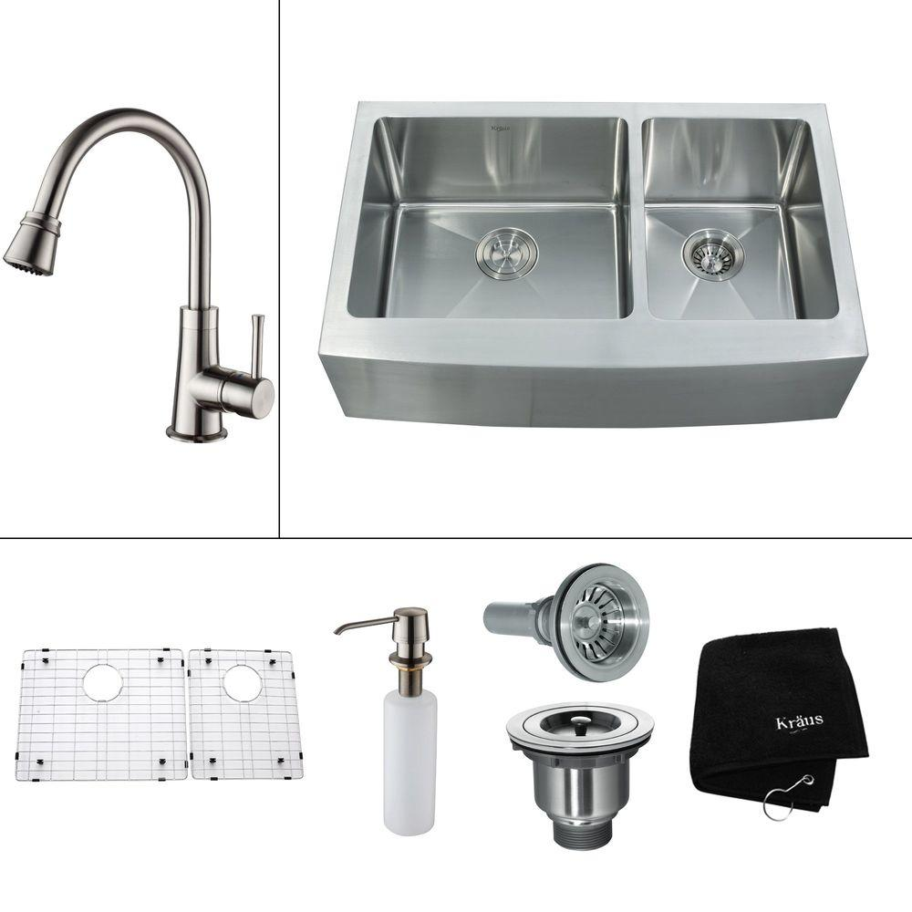 KRAUS All-in-One Farmhouse Apron Front Stainless Steel 32.9 in. 0-Hole Double Bowl Kitchen Sink with Satin Nickel Accessories
